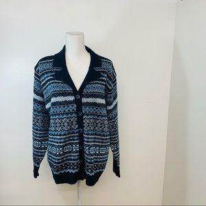 Carolyn Taylor Womans Sweater XL  Vintage Blue Fair Isle  Button Up